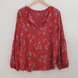 2 for $20LOFT red long sleeve floral blouse xlarge